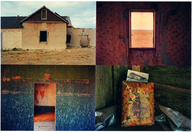 "THE SWALLOWS HOUSE, PROGRESSO, NEW MEXICO, 39x 54"", 4 framed Ektacolor  prints  each 18x24"" 1983-84"