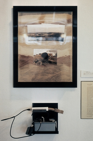 "ANACONDA URANIUM MINE AT PAGUATE, LAGUNA PUEBLO, NEW MEXICO 4  ektacolor contact prints in plexiglass box  14x17x4"" , filled with sand from Anaconda mine.  Poem, After the Pow-wow 1982  by Harold Littlebird  on wall and geiger counter on shelf, 1985"