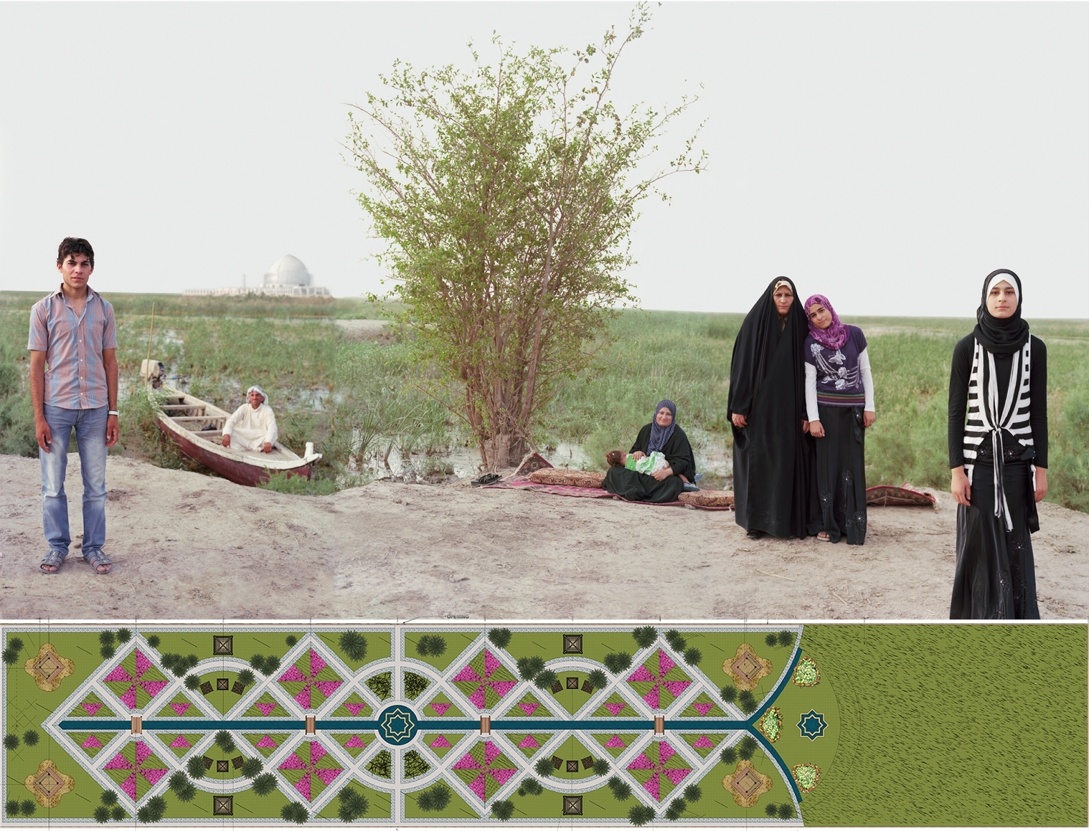 "ADAM AND EVE IN THE IRAQ MARSHES, NEAR THE POSSIBLE HISTORIC SITE OF THE GARDEN OF EDEN 2011-2012. 34 x 59.83, linen (with border 41 x 66"")"