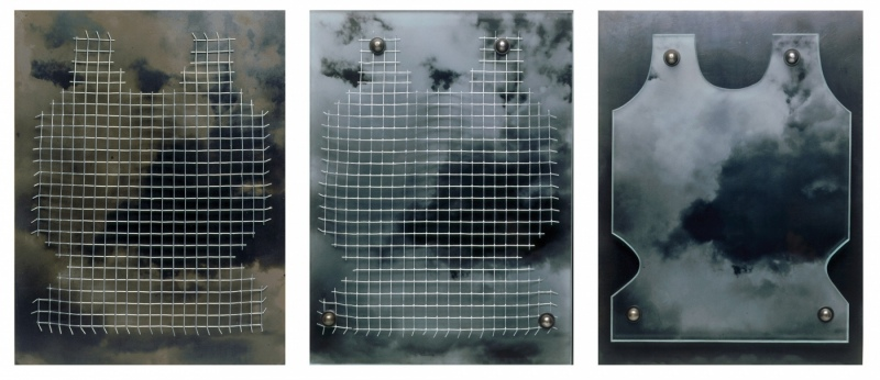 """Joan's Arc # 3, each made of steel with hardware cloth.cloud photo sandblasted on steel and glass, ea 16""""x12""""x2"""""""