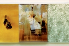 """PHONE SUTRA Triptych, three Iris prints on vellum from montaged video stills and digital imagery, floated in sanded acrylic case, 30 1/2"""" x 69""""."""