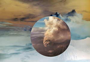 Meridel Rubenstein, Mt. Bromo from above Encircled, 2011. Dye sublimation on aluminum, edition 1/5, 31 × 45 1/2 in.